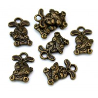 14mm Small Rabbit Charms, Antique Brass, Pack of 10