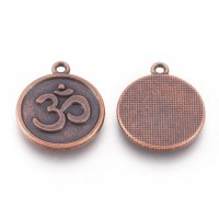 21mm Ornate Om Charm, Antique Copper, 1 Piece