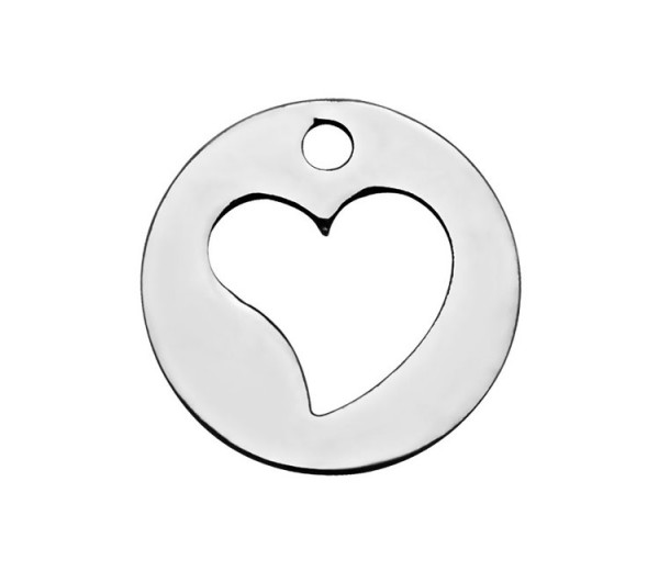 12mm Small Cutout Heart Charm, Stainless Steel, 1 Piece