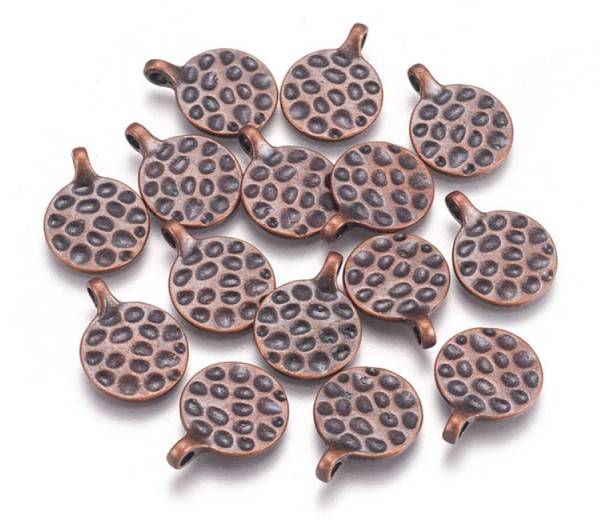 18mm Hammered Disk Dangle Charms, Antique Copper, Pack of 10