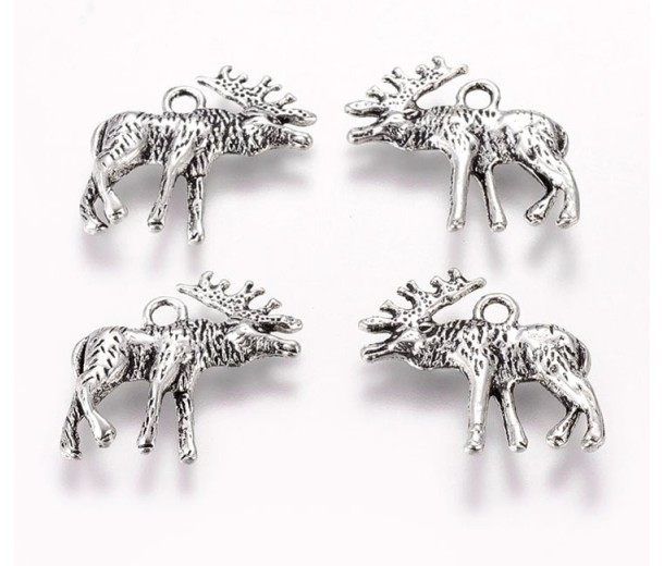 22mm Reindeer Stag Charm, Antique Silver, 1 Piece