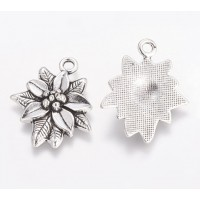 28mm Poinsettia The Chrismas Flower Charm, Antique Silver, 1 Piece