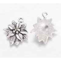 28mm Poinsettia The Chrismas Flower Charm, Antique Silver, 1 Piece