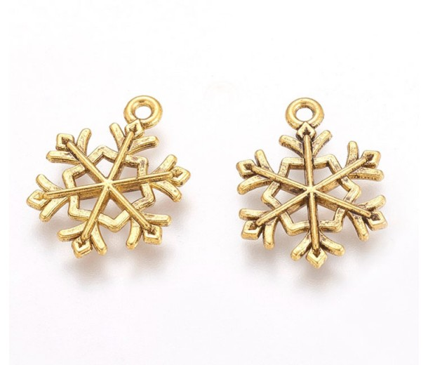 20mm Hexa Snowflake Charms, Antique Gold, Pack of 5
