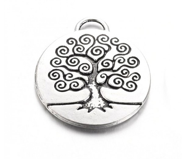 24mm Tree of Life Pendant, Antique Silver, 1 Piece