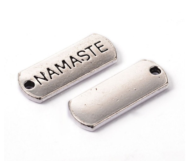 21mm Dog Tag Word Pendants, Namaste, Antique Silver, Pack of 5