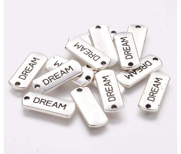 21mm Dog Tag Word Pendants, Dream, Antique Silver, Pack of 5