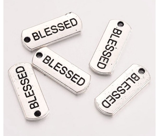 21mm Dog Tag Word Pendants, Blessed, Antique Silver, Pack of 5