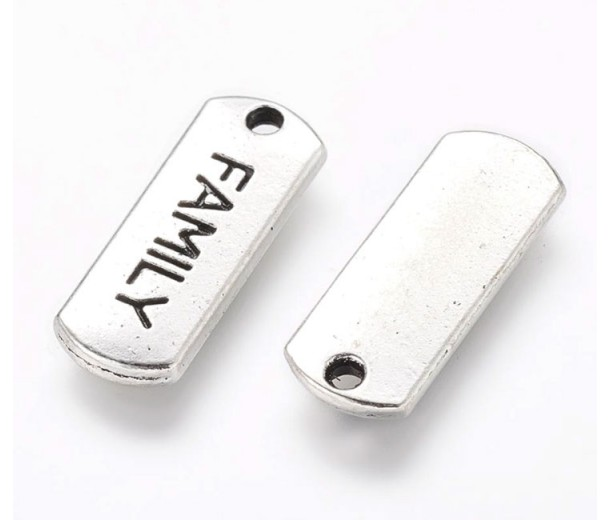 21mm Dog Tag Word Pendants, Family, Antique Silver, Pack of 5