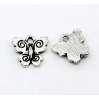 12mm Small Butterfly Charms, Antique Silver, Pack of 10