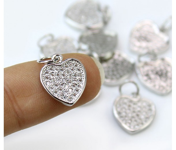 11mm Flat Heart Cubic Zirconia Charm, Rhodium Plated