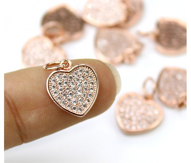 11mm Flat Heart Cubic Zirconia Charm, Rose Gold Tone