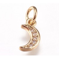 9mm Tiny Crescent Moon Cubic Zirconia Charm, Gold Tone