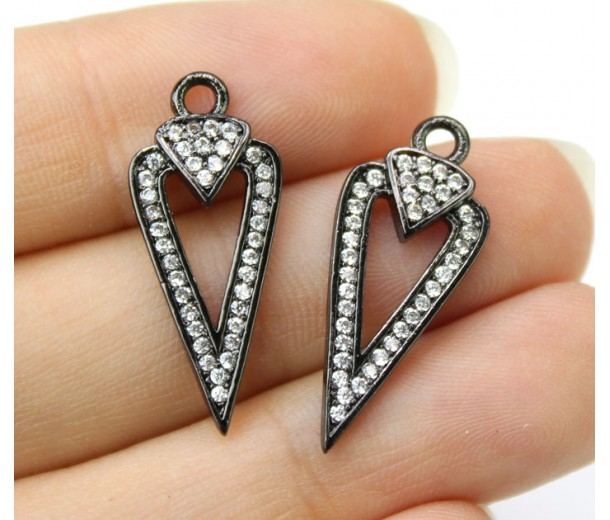 23mm Arrowhead Cutout Cubic Zirconia Pendant, Black Finish