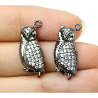 21mm Owl Cubic Zirconia Charm, Black Finish