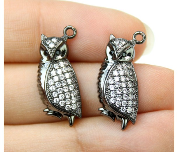 21mm Owl Cubic Zirconia Charm, Black Finish