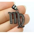 18mm Virgo Zodiac Sign Cubic Zirconia Pendant, Black Finish