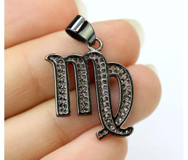 18mm Virgo Zodiac Sign Cubic Zirconia Pendant, Black Finish