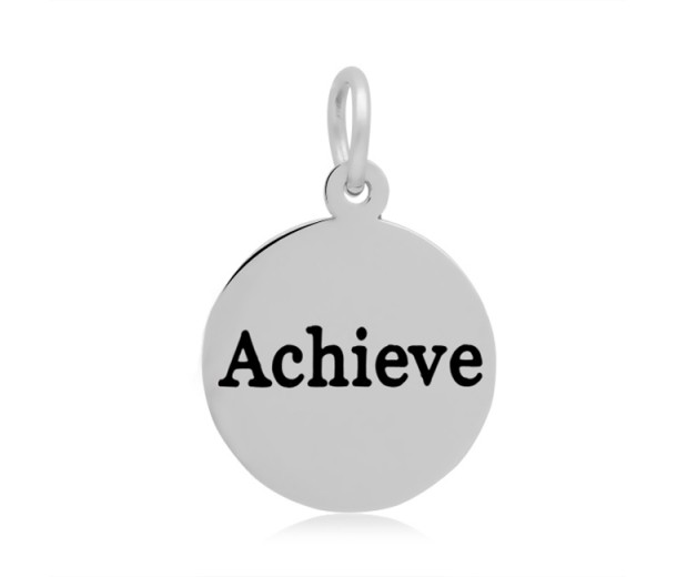 16mm Stamped Stainless Steel Word Charm, Achieve