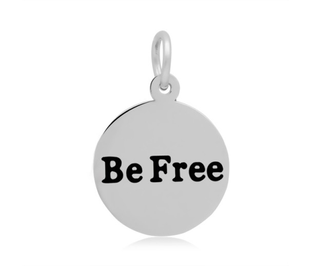 16mm Stamped Stainless Steel Word Charm, Be Free