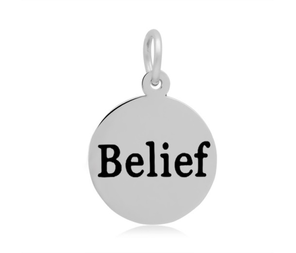 16mm Stamped Stainless Steel Word Charm, Belief