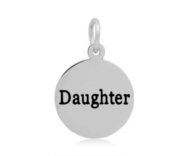 16mm Stamped Stainless Steel Word Charm, Daughter