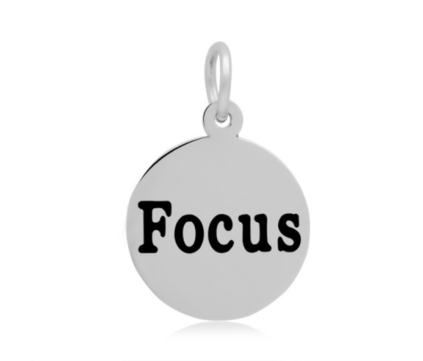 16mm Stamped Stainless Steel Word Charm, Focus