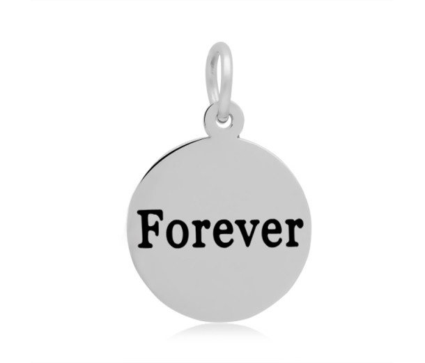 16mm Stamped Stainless Steel Word Charm, Forever