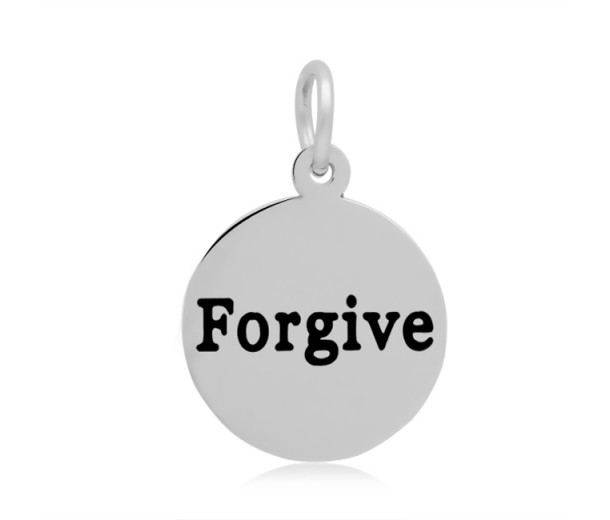 16mm Stamped Stainless Steel Word Charm, Forgive