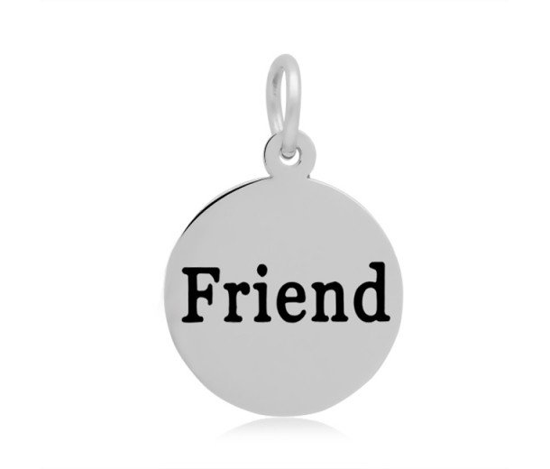 16mm Stamped Stainless Steel Word Charm, Friend