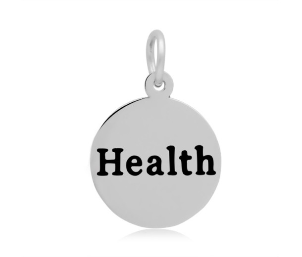 16mm Stamped Stainless Steel Word Charm, Health
