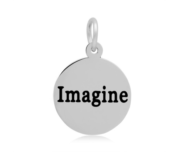 16mm Stamped Stainless Steel Word Charm, Imagine