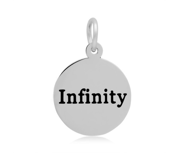 16mm Stamped Stainless Steel Word Charm, Infinity