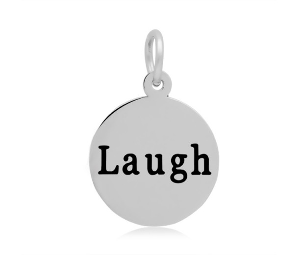 16mm Stamped Stainless Steel Word Charm, Laugh