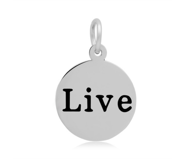 16mm Stamped Stainless Steel Word Charm, Live