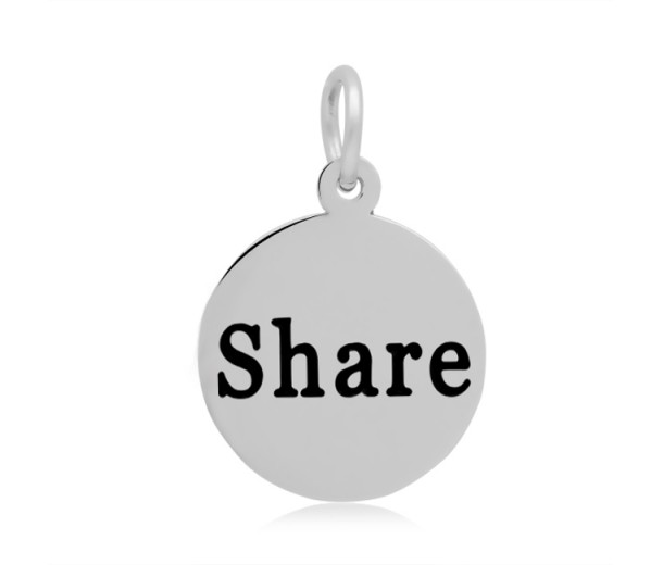 16mm Stamped Stainless Steel Word Charm, Share