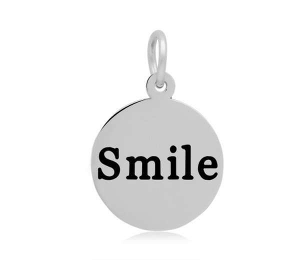 16mm Stamped Stainless Steel Word Charm, Smile