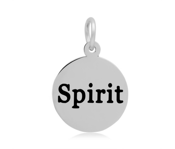 16mm Stamped Stainless Steel Word Charm, Spirit