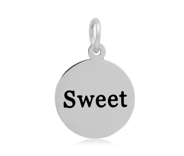 16mm Stamped Stainless Steel Word Charm, Sweet