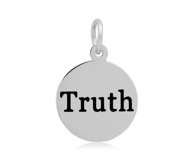 16mm Stamped Stainless Steel Word Charm, Truth