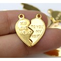"""20mm Split Heart Charms, """"My Love I Give"""", Gold Tone, Pack of 10"""