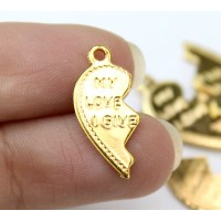 "20mm Split Heart Charms, ""My Love I Give"", Gold Tone, Pack of 10"