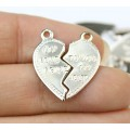 """20mm Split Heart Charms, """"My Love I Give"""", Rhodium Plated, Pack of 10"""