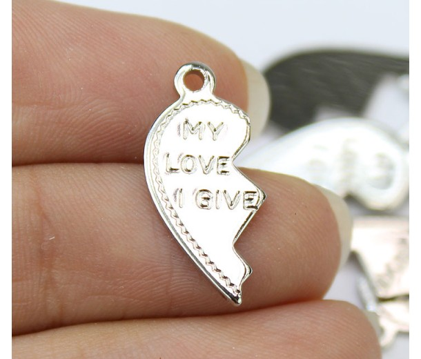 "20mm Split Heart Charms, ""My Love I Give"", Rhodium Plated, Pack of 10"