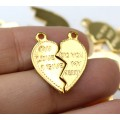 """20mm Split Heart Charms, """"...To You My Heart"""", Gold Tone, Pack of 10"""