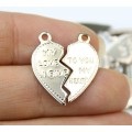 "20mm Split Heart Charms, ""...To You My Heart"", Rhodium Plated, Pack of 10"