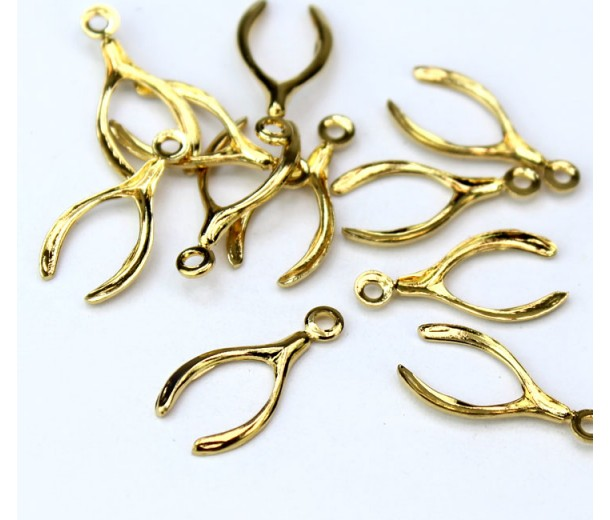 16mm Wishbone Charms, Gold Tone, Pack of 10