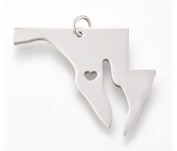 30mm Maryland State Charm, Stainless Steel