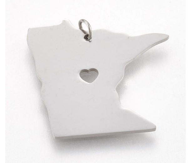 24mm Minnesota State Charm, Stainless Steel