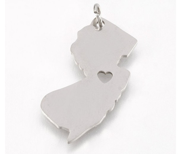 27mm New Jersey State Charm, Stainless Steel